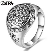 Wholesale Mens Sterling Silver Biker Rings - ZABRA Vintage Genuine 925 Sterling Silver Rings For Women Female Six Words Budda Mantra Biker Mens Signet Rings Male Jewelry