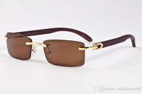 ingrosso occhiali da sole marque-Uomini famosi degli uomini di marca Occhiali da sole di legno bianchi senza bordo Corno di bufalo Occhiali da sole naturali Occhiali da sole lunedi de soleil