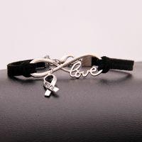 bracelete do encanto do sinal do infinito venda por atacado-Boemia Infinito Amor Esperança Câncer Sinal Marca de Jóias Camadas Única Cor Preta de Couro Camurça Cuff Bracelet Liga Charme Pulseiras Para Mulheres Homens