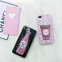 iphone sparkle cor-de-rosa venda por atacado-Para iphone 8 7 plus rosa glitter bling faísca bonito capa protetora phone case moda faísca caso de telefone celular