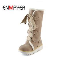 Wholesale boots fashion platform vintage - ENMAYER New Hot sale Half Knee Boots Fashion Thick Fur Warm Winter Shoes Vintage Lace Up Platform Outdoor Snow Boots for Women