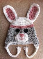 ingrosso cappelli coniglietto neonato-Inverno neonato Natale cappello lavorato a maglia Baby Boy Girl animale Cartoon Cap infantile Crochet Rabbit Copricapo Bambini Bunny Copricapo Cotone