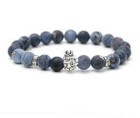 Wholesale semi precious stone chains - JLN Weathering Agate Buddha Bracelet Owl Head Natural Semi-Precious Stone Beads Rope Chain Strand Bracelets For Men Women