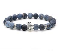 ingrosso braccialetto di pietra preziosa delle donne-JLN Weathering Agate Buddha Bracciale Gufo Testa naturale semi-preziosa perline di pietra Corda catena Strand Bracciali per uomo donna