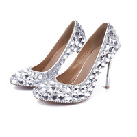 Wholesale glass dress shoes - Iron Heels Glass Diamond Wedding Shoes 10CM Fashion NightClub Luxury shoes 2018 Hot Sale American and European Free Shipping
