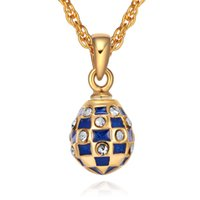 Wholesale Faberge Crystal Eggs - Mini Size women's Enamel Handmade Jewelry Brass Faberge Egg Pendant TF Charms Crystal Rhinestone Necklace Gift To Women