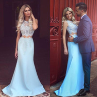 Wholesale two piece evening dress resale online - Sexy Ocean Blue Two Pieces Evening Dresses Arabic Mermaid Illusion Jewel Neck Lace Appliques Long Formal Party Celebrity Prom Gowns
