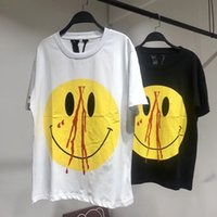 Wholesale united life - Europe and the United States tide brand Vlone life 18SS nosebleed yellow smile big V letter short-sleeved T-shirt men and women tee