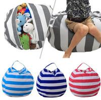 Wholesale kids wholesale clothes stripes for sale - Stripe Storage Bean Bag Portable Kids Stuffed Animal Toy Globular Storage Pouch Play Mat Clothes Organizer Tool OOA4228