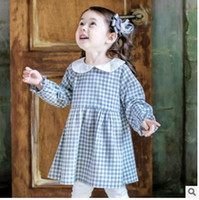 Wholesale Baby Doll Sleeves Dress - Children princess dress Baby girls cotton plaid pleated dress 2018 new Spring Kids doll lapel long sleeve dresses Cute Kids dress C2488
