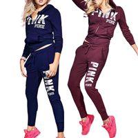 Wholesale Wholesale Ladies Hoodies - Love Pink Women Sports Suit Pants Hoodies Set Hooded Long Sleeve Tops Sweater Outerwear Trousers Leggings Ladies Jogging Tracksuit BBA58