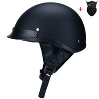 abs aprobado al por mayor-Alta calidad ABS retro harley cascos moto unisex DOT Approved Half Helmet casco Harley Rider Casco mate negro S-XXL