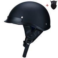 ingrosso caschi moto xxl-Alta qualità ABS Retro caschi moto unisex DOT approvato casco mezzo Rider casco Casco nero opaco S-XXL