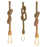 ingrosso edison ha condotto le lampadine e27-Retro Vintage Rope Lampada a sospensione Luce Loft Personalità creativa Lampada industriale Lampadina Edison Stile americano per soggiorno