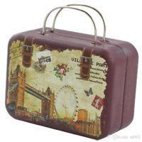 винтажные чемоданы оптовых-Металл старинные чемодан портативный украшения конфеты ящик для хранения Дети девушки свадьба пользу ретро контейнер прямоугольник подарочная упаковка коробки 2 5lx bb