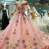 Wholesale china made pageant dresses for sale - Group buy 2019 Flowers Pink Girl Beauty Pageant Dresses Off Shoulder Short Sleeves O Neck Beaded Girl Pink Evening Dresses China Girl Pageant Dress