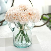 Wholesale Birthday Flower Bouquets - Wholesale-1 Bouquet 5 Head Wedding Artificial Hydrangea Flower Home Wedding Party Birthday New Year Christmas Valentines day Floral Decor