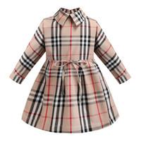 yeni tarz hırkalar toptan satış-Ekose elbise 2019 YENI stilleri sonbahar Kızlar yaka İngiliz tarzı uzun kollu pamuklu bebek çocuklar büyük ekose rahat hırka elbise 2 stilleri ücretsiz gemi