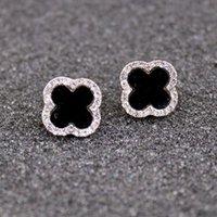 ingrosso orecchini di diamanti ipoallergenici-Orecchini in argento 925 con fiore di ipoallergenico in argento 925 a forma di quadrifoglio, semplici orecchini con personalità selvaggia
