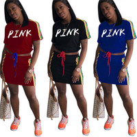 Wholesale striped top dress - Pink Letter Skirt Suit Women Summer Tracksuit Love PINK Striped T Shirt Crop Top + Short Skirts 2PCS Set Girls Outfits Casual Dress Suits