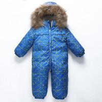 ingrosso giacca di pile di neonato--30 gradi new Baby snowsuit snow wear inverno abbigliamento caldo pile tuta 90% bianco anatra piumino cappotto per ragazza ragazzo vestiti