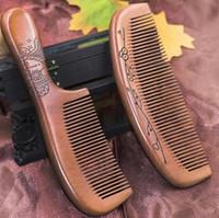 Wholesale old hair brush - Massage Brush boutique old mahogany wood comb ebony comb anti-static hair loss hair comb wholesale custom logo a399