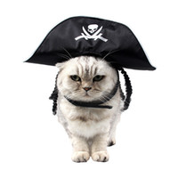 Wholesale cosplay trendy online - Cool Skeleton Pet Cat Dog Halloween Costume Cosplay Trendy Headwear Black Pirate Hat Cap Masquerade Holiday Dress Party Gift Pet Supplies