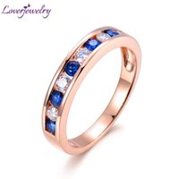 mavi safir elmas yüzük toptan satış-Loverjewelry Gerçek Katı 18Kt Gül Altın Kadınlar için Doğal Elmas Mavi Safir Alyans Trendy Yıldönümü Takı S923