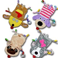 Wholesale baby towel stuff toy online - Newborn Infant Baby Soft Towel Dog Mouse Stuffed Toys Comfort Appease Towel Plush Rattles Toy Animals Comforting Blanket MMA1079