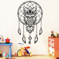 Wholesale sticker wall nursery owl resale online - Creative animal Owl wall decals Dream Catcher Wall Stickers Bedding Feather Art Geometric sticker for room decor home decor