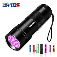 ultraviolett-fackeln großhandel-Uv led taschenlampe 12 leds ultraviolett flash lampe taschenlampe lampe hintergrundbeleuchtung protable linternas mini ultraviolett