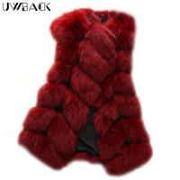 Wholesale faux fur vests for women - Uwback Women Coat Fuax Fur Vest for Lady Warm Fluffy Fur Vest Patchwork Candy Color 2017 New Winter Mujer Long Black,EB214