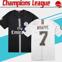 yeni beyaz gömlekler toptan satış-Yeni Logo PSG Şampiyonlar Ligi Futbol Forması 18/19 # 10 NEYMAR JR # 7 MBAPPE Beyaz Futbol Gömlek 2019 Siyah PSG Futbol Üniforma B ...