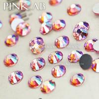 дизайн розовых ногтей оптовых-Pink AB SS3-SS30 ногтей Стразы ногти Non исправление кристалл страз блестит Аксессуары для DIY ногтей конструкций арт декор маникюра