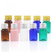 aluminium-flaschenpakete großhandel-5ml leere Dose Kosmetikbehälter Plastikprobenfläschchen mit Aluminiumkappe Kleine nachfüllbare Verpackungsflaschen für ätherische Öle