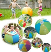 Wholesale christmas inflatables outdoors - 75CM Inflatable Beach Water Ball Fun Spray Outdoor Summer Water Float Toy Lawn Sprinkler Home Kids Children Toys Party Supplies I279