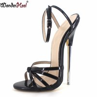 0102e7414399 Wonderheel hot sale Extreme high heel 18cm heel BLACK Sexy fetish ankle  STRAP WOMEN SANDALS with 7