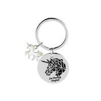 Wholesale Metal Ideas - I am Magical Unicorn Double Charm Fashion Key Chains For Women Gift Idea for Unicorn Lovers Handbag Decoration Charm Pendent