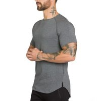 kaslı erkekler tişörtü toptan satış-Marka spor salonları clothing spor t gömlek erkekler moda hip hop uzatmak yaz kısa kollu t-shirt pamuk vücut geliştirme kas tshirt adam
