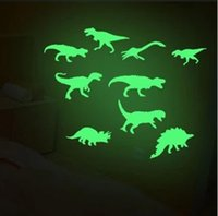 Wholesale glow dark animals for sale - Glow In The Dark Dinosaurs Stickers Luminous Cartoon Dinosaur Wall Stickers Baby Kid Room Wall Decor OOA5804