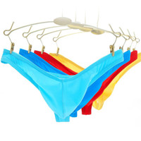 Wholesale yellow silk thongs for sale - Men transparent thongs and g strings sexy gay men s underwear smooth ice silk briefs mens see through t back thong tanga panties