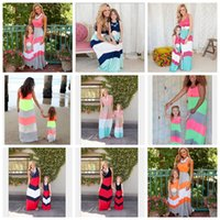 Wholesale Sleeveless Cotton Dresses - mommy and me striped dress mother daughter dresses family mother daughter beach kids parent child dress