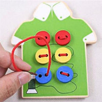 Wholesale montessori toddler toys for sale - Montessori Educational Kids Toys Beads Lacing Board Wooden Toys Toddler Sew On Buttons Early Education Teaching Aids Puzzles