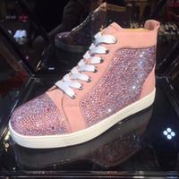 zapatos planos de cristales al por mayor-Diseñador de zapatos casuales Mujer Hombre Zapatillas de deporte Cristal Rosa Pisos zapatos Zapatos inferiores rojos para los amantes de la boda del partido Zapatillas de deporte de piel
