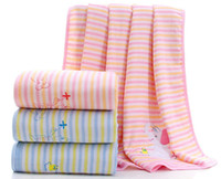 edredones de algodón rosa al por mayor-Manta de bebé orgánica de muselina - 100% sábanas suaves de algodón, edredón de verano para bebé (azul / rosa, 100 cm * 100 cm)