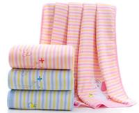 ingrosso grandi coperte a spazzola-Coperta per bebè organica per bebè - Coperta morbida in cotone 100%, trapunta estiva per bimbo (blu / rosa, 100cm * 100cm)