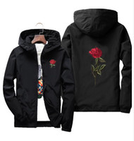Wholesale Casual White Coats For Men - Spring oversize Rose Jacket Windbreaker for Men And Women's Jacket young college lovers casual White Black Roses Outwear Coat size
