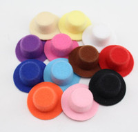 Wholesale Mini Top Hat Wholesale - Cheap Price 50pcs Lot Solid Headwear Color Women Party Tiaras Felt Mini Top Hat Base Hair Fascinator Hat Base Diy Mini Hat 4cm Wholesale