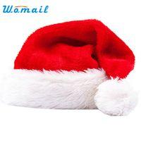 Wholesale headgear costume resale online - Hot Christmas Hat Soft Warm Santa Headgear Plush Velvet Costume Skullies Beanies Winter Keep Warm Beanie Hats For Kids WOct4