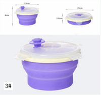 Wholesale outdoor camping plates - Round Silicone Folding Lunch Box Portable Food Storage Container Collapsible Crisper Camping Outdoor Bowls with Lids AAA49